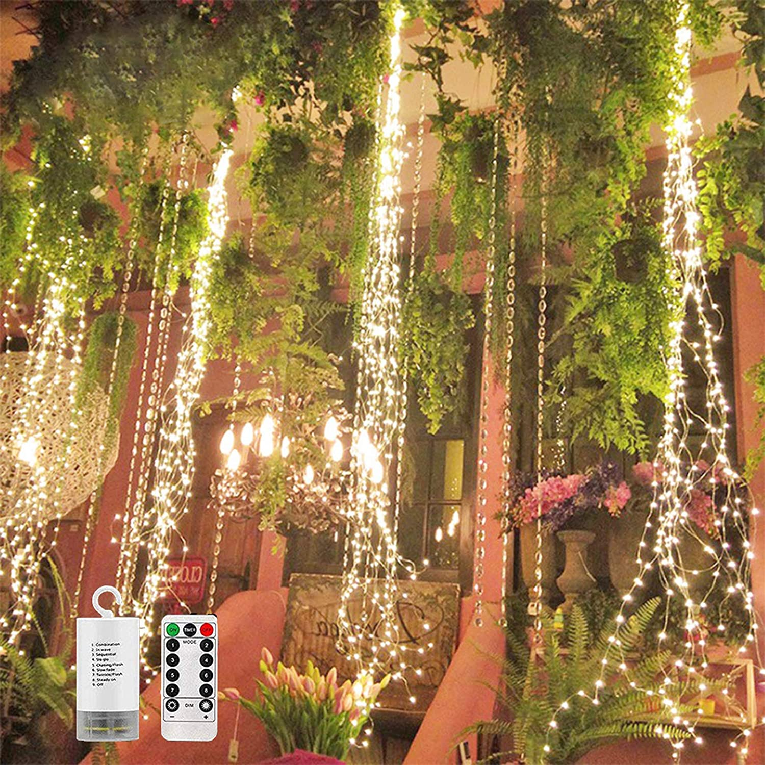 220 LED Firefly Bunch Lights Battery Operated, 8 Flashing Modes Waterproof Copper Wire Waterfall Lights, Remote Controlled Timer and Hooks, Fairy Lights for Indoor Outdoor Decor (Warm White)
