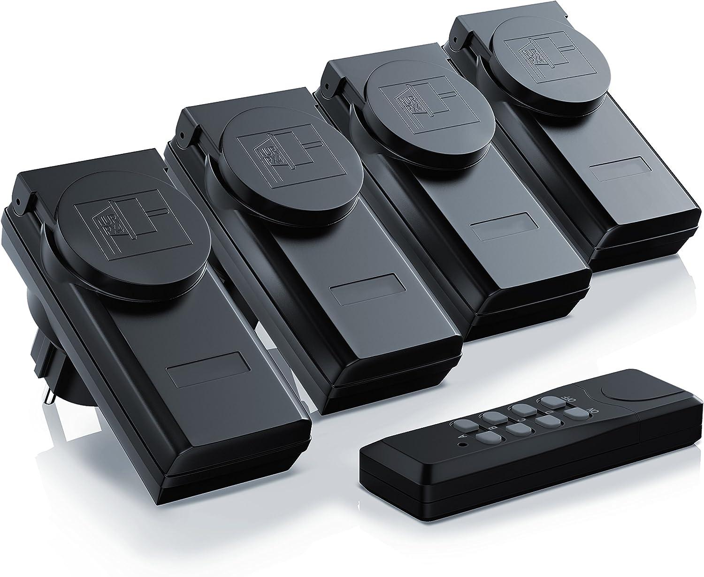 Arendo - enchufes inalámbricos con control remoto Juego 4 y 1 para exteriores Outdoor - juego de 4 cajas de enchufe con conmutador - 1 telemando - protección para los niños - alto radio alcance 25 m -