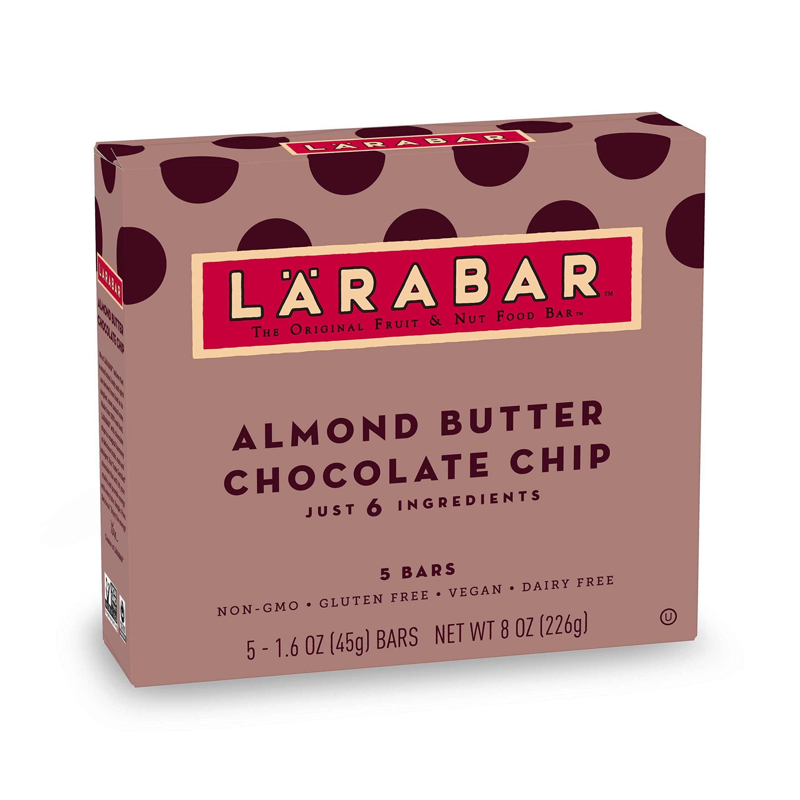 Larabar Gluten Free Bar, Almond Butter Chocolate Chip, 1.6 oz Bars (5 Count), Whole Food Gluten Free Bars, Dairy Free Snacks