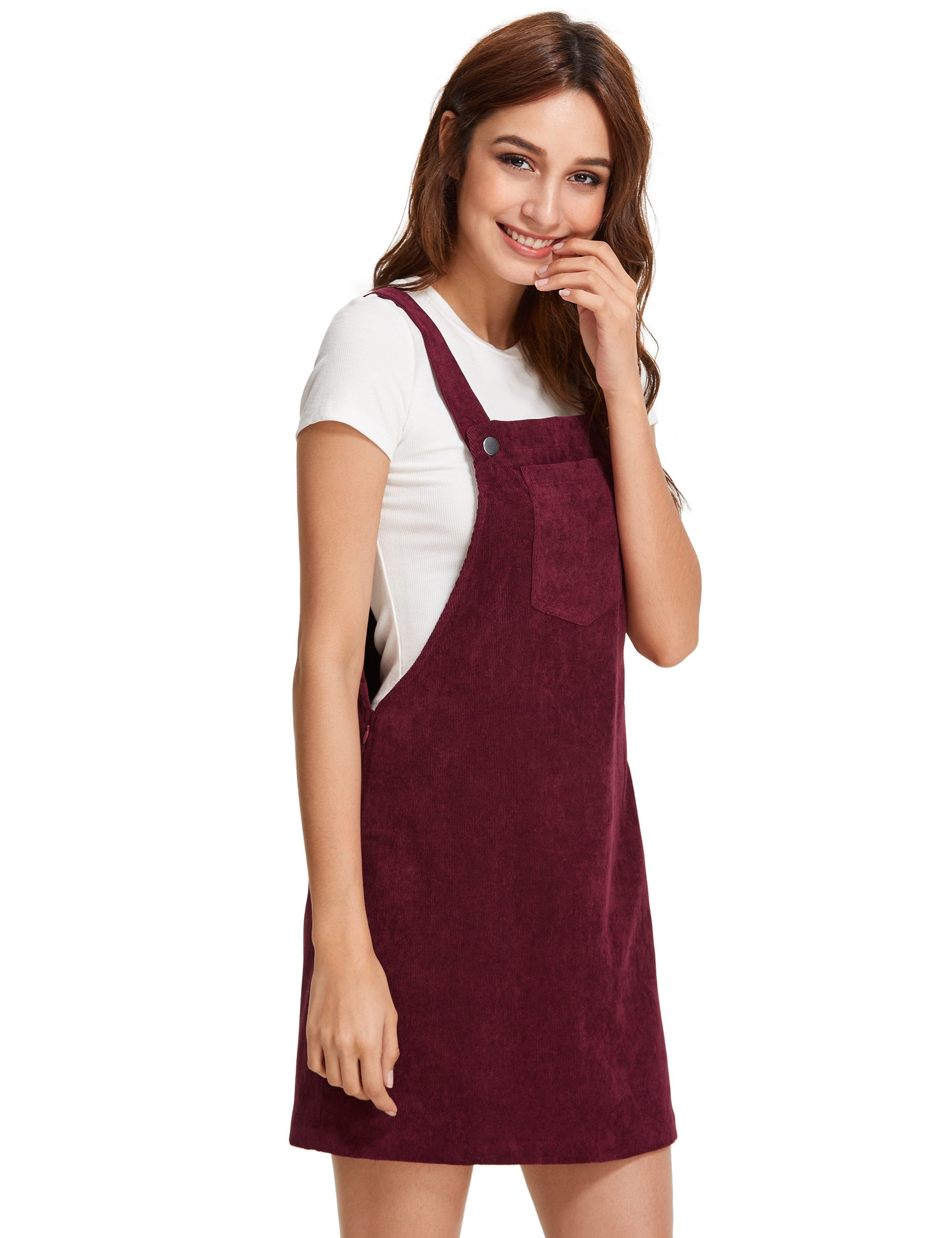 e2830519d36 Romwe Women s Straps A-Line Corduroy Pinafore Bib Pocket Overall Dress  Burgundy XS   Dresses   Clothing