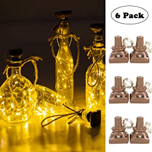 Solar Powered Wine Bottle Lights, 6 Pack 20 LED Waterproof Outdoor Solar Fairy String Cork Lights for Wedding Christmas,Holiday, Garden, Patio Tabletop Decor (White Warm)