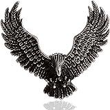 DonDon Pendentif style biker en forme d'aigle pour homme Acier inoxydable Pochette en velours noire incluse