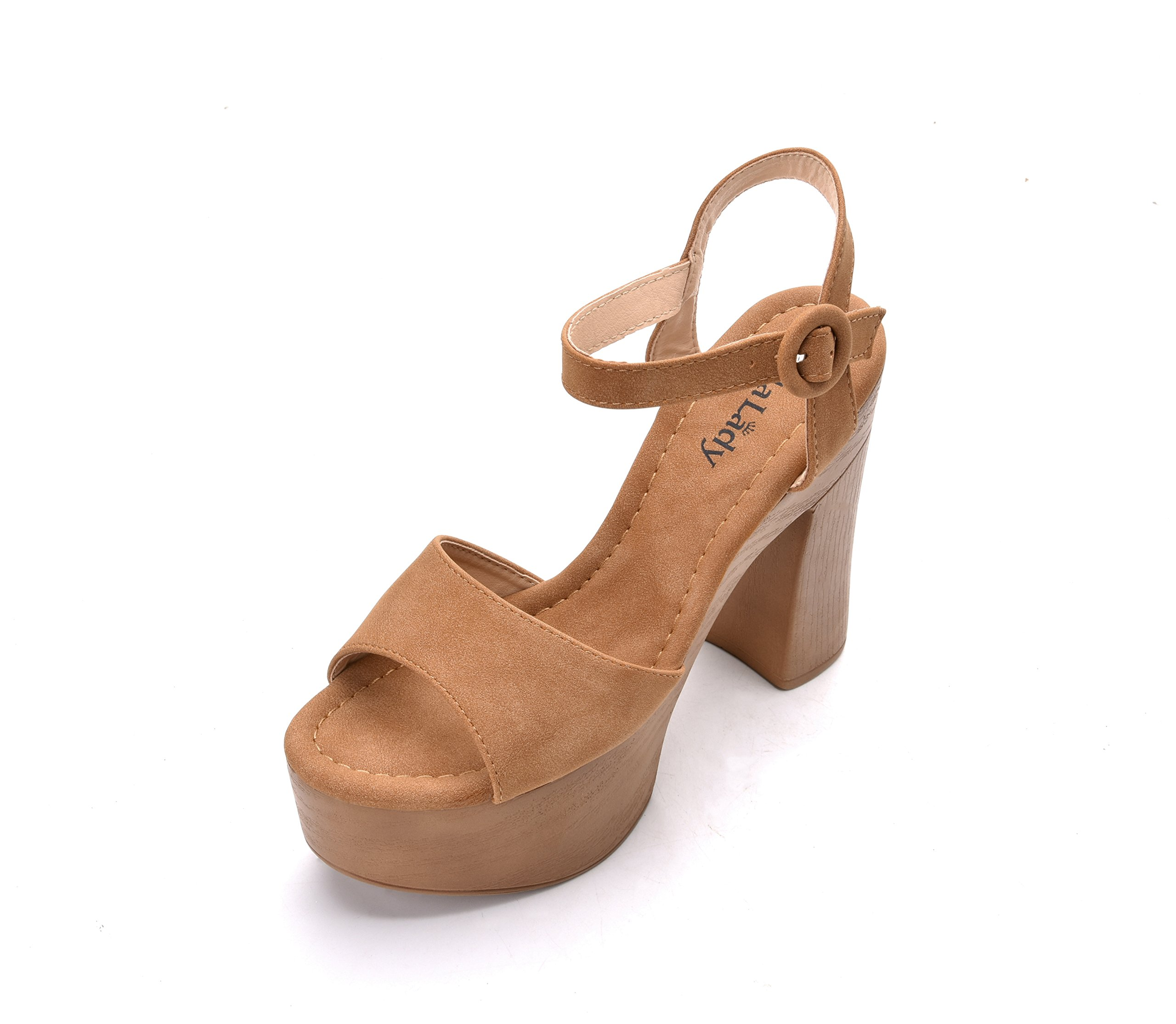 Evoking Chic Styles Ankle Strap Adjustable Buckle Chunky Heeled Sandals Platform Sole Shoes for Women, Loleta Camel Size 5.5