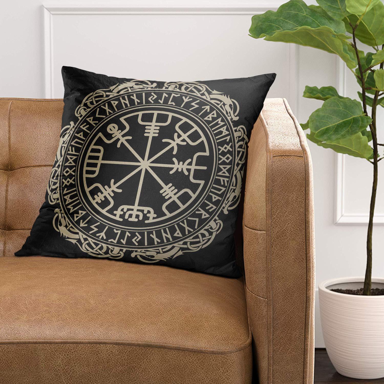 VANMI: funda de almohada negra con diseño celta vikingo, brújula ...