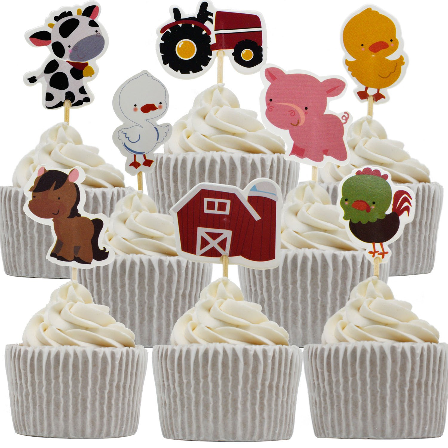 Betop House 24pcs Farm Animals Themed Party Decorating Cake and Cupcake Toppers