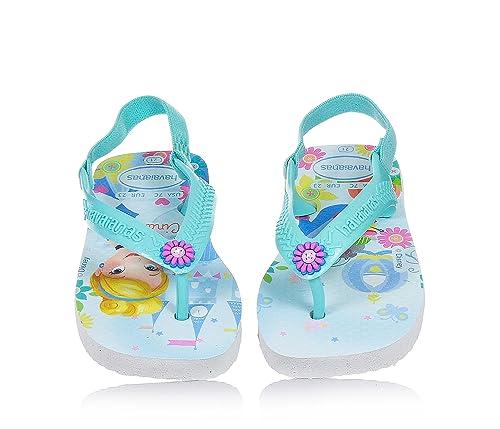 91e5ca7b2a3978 Amazon.com  Girls Havaianas Disney Princess Flip Flops - White   Ice ...
