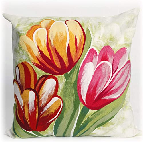 Liora Manne Visions III Tulips Indoor Outdoor Pillow, 20 X 20 Square, Red