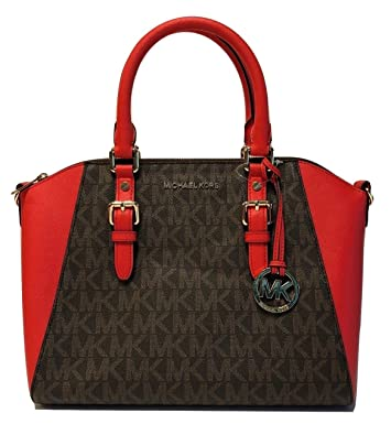 2d011190a1b1d4 Amazon.com: MICHAEL Michael Kors Ciara Large TZ Satchel (Signature  Brown/Dark Sangria): Shoes