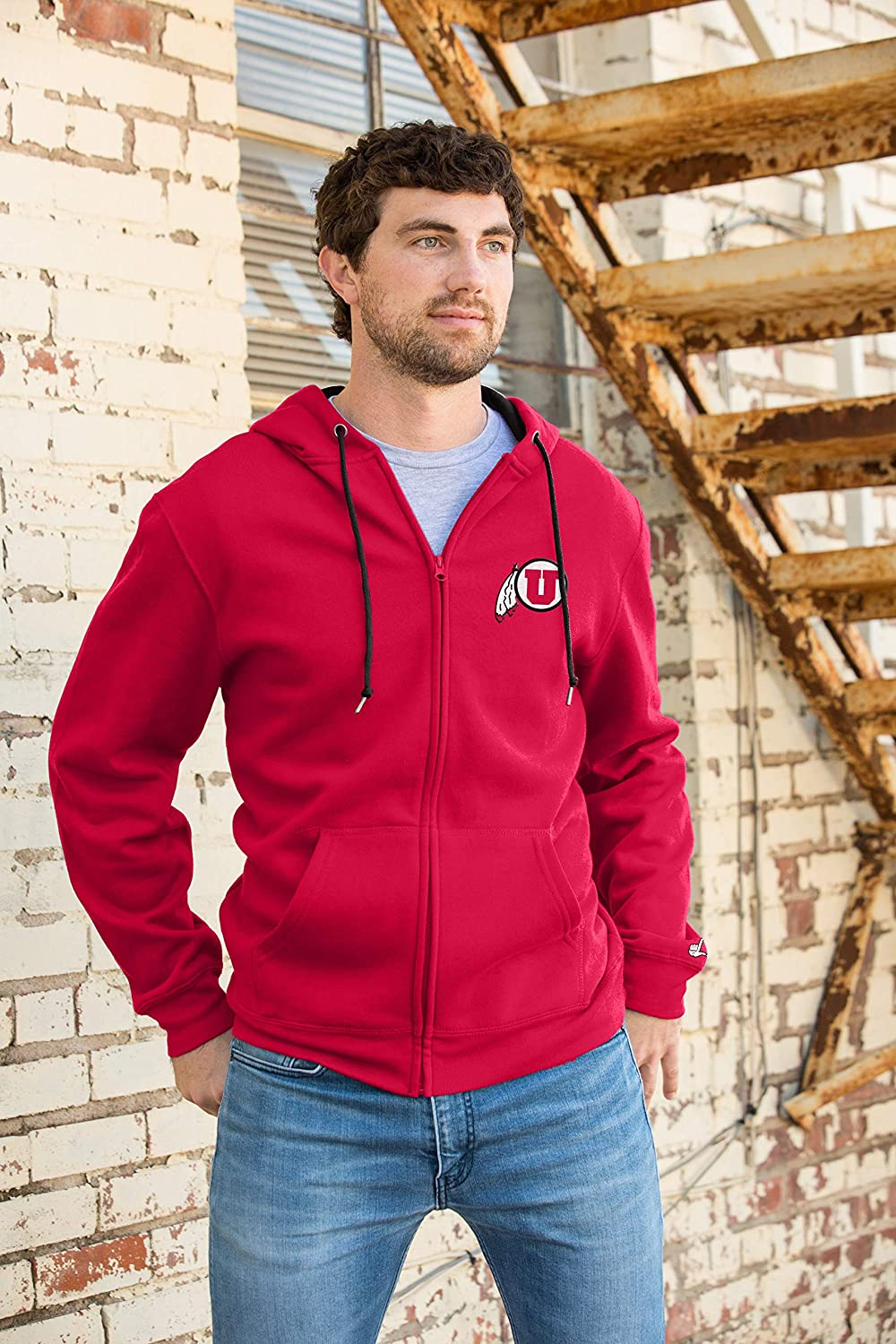Top of the World Mens Zip Up Hoodie Sweatshirt Team Applique Embroidered Icon