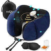 Almohada de viaje de eeQiu - Almohada de vuelo de espuma viscoelástica y cómoda almohada para la cabeza Almohada para el cuello Soporte de mentón especialmente diseñado para el uso de aviones, automóv