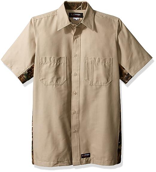 8e4428d0a9cd7 Wrangler Workwear Men's Realtree Short Sleeve Camo Work Shirt, Khaki  Insert, Small