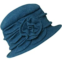 1c6101224301d Urban CoCo Women s Floral Trimmed Wool Blend Cloche Winter Hat (Peacock  Blue-Model A