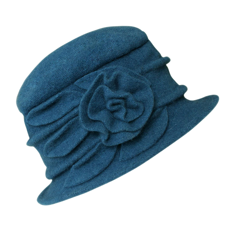 Women's Floral Trimmed Wool Blend Cloche Winter Hat Bingo E-Commerce MXD06H