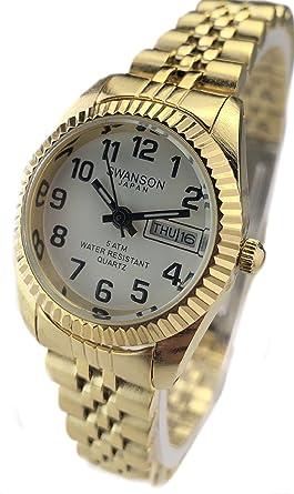 Reloj de Mujer Swanson Japan Women Watch Dorado con Numeros Fecha,Dia Resistente al Agua