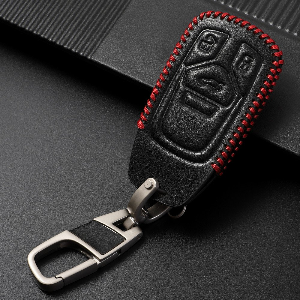 Genuine Leather fob key cover for Audi Accessories Keychain fit A3 A4 A5 A6 Q3 Q5 Q7 C5 C6 B6 B7 B8 TT 80 S6 A6 C6 key chain case holder shell bag ...