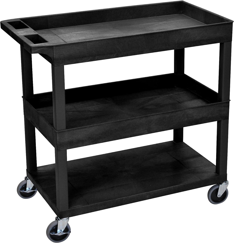 LUXOR EC112-B Cart, High Capacity, 2 Tubs and 1 Flat Shelf, Black