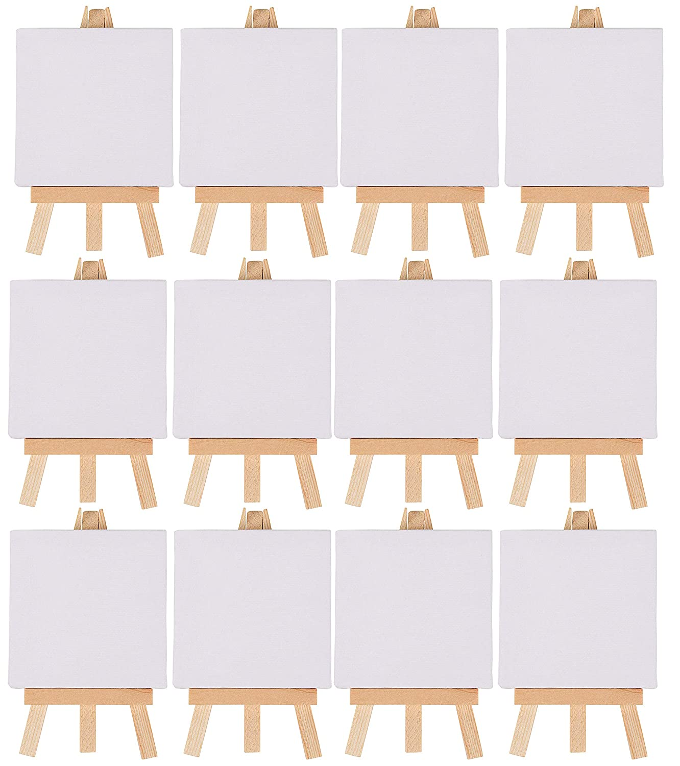 Mini canvas and easel set 12 pack mini canvas panels and wood easels small stretched canvas professional kids art supplies for drawing painting