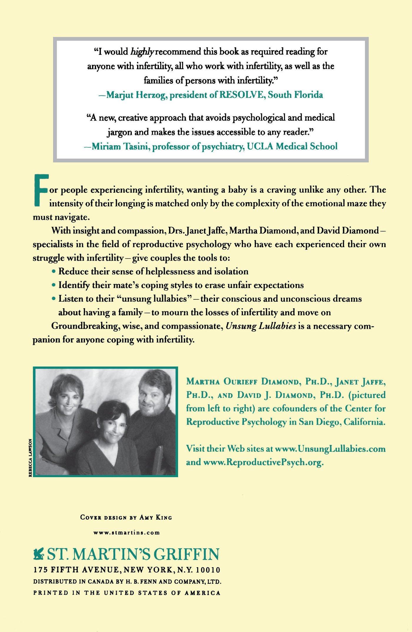 025c275c5c Unsung Lullabies: Janet Jaffe, David Diamond, Martha Diamond:  9780312313890: Amazon.com: Books