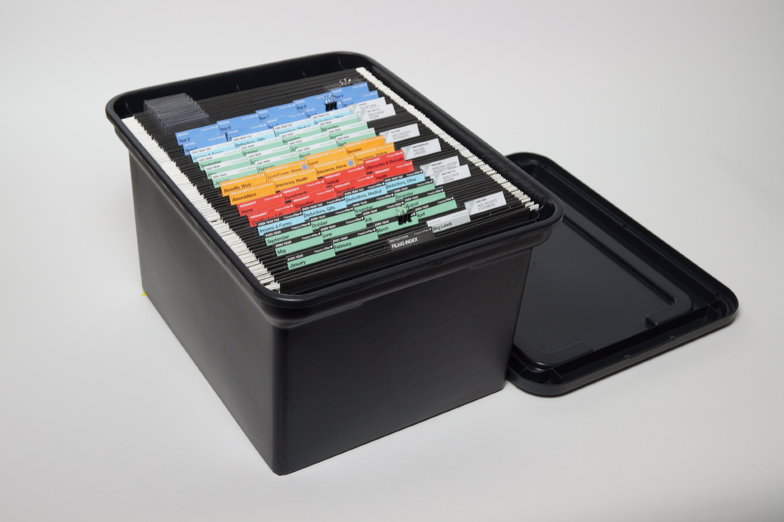 FreedomFiler Home Filing System Ready-Made 1/5 Tab Pendaflex (Black) by FreedomFiler