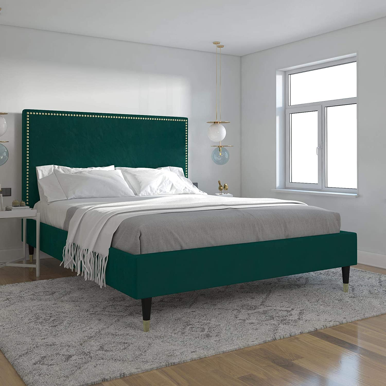CosmoLiving by Cosmopolitan Audrey Upholstered, Emerald Green Velvet, Full Size Frame Bed