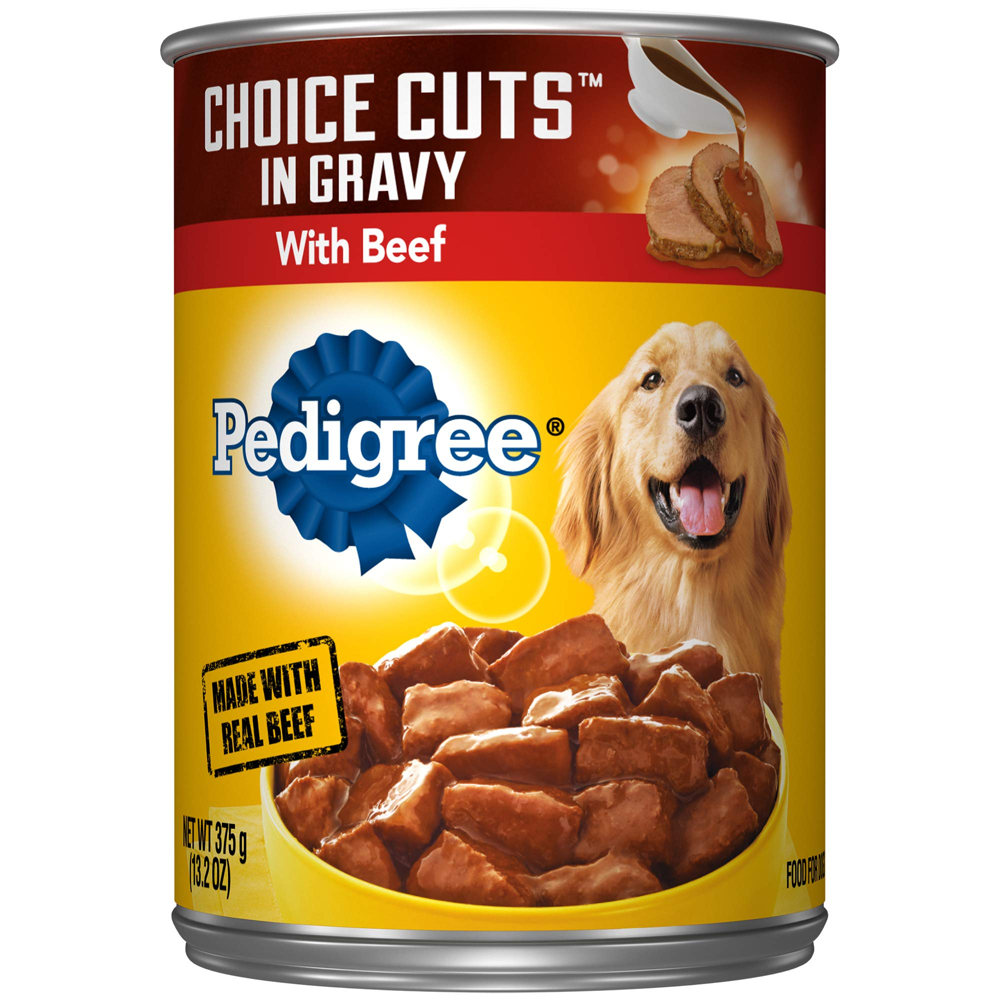 PEDIGREE CHOICE CUTS IN GRAVY Adult Canned Wet Dog Food, 13.2 oz. Cans (Pack of 12)