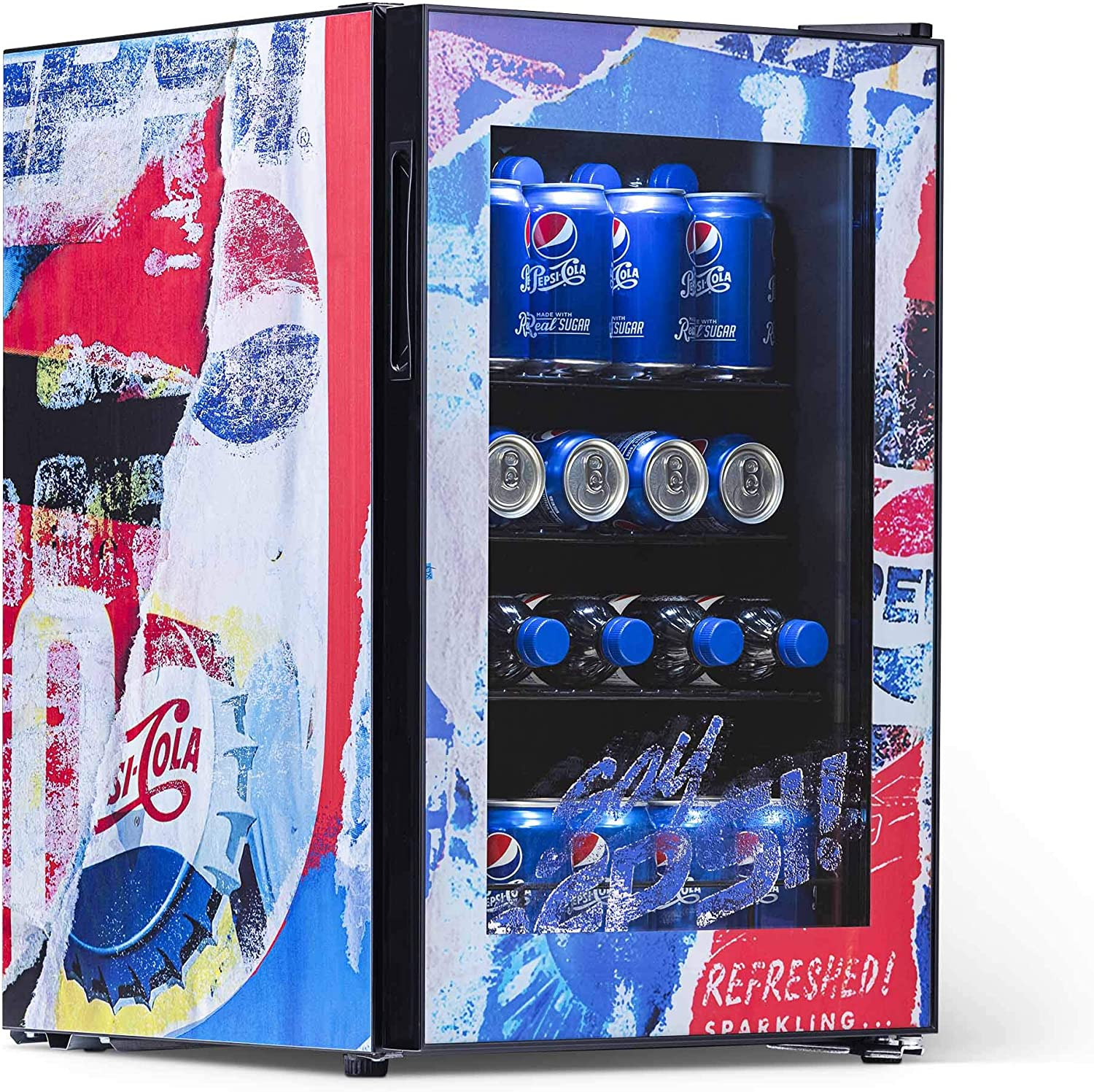 Pepsi Cola Beverage Refrigerator 90 Can Rewind' Cooler, Perfect for Soda and Beer, PBC0850200, Red