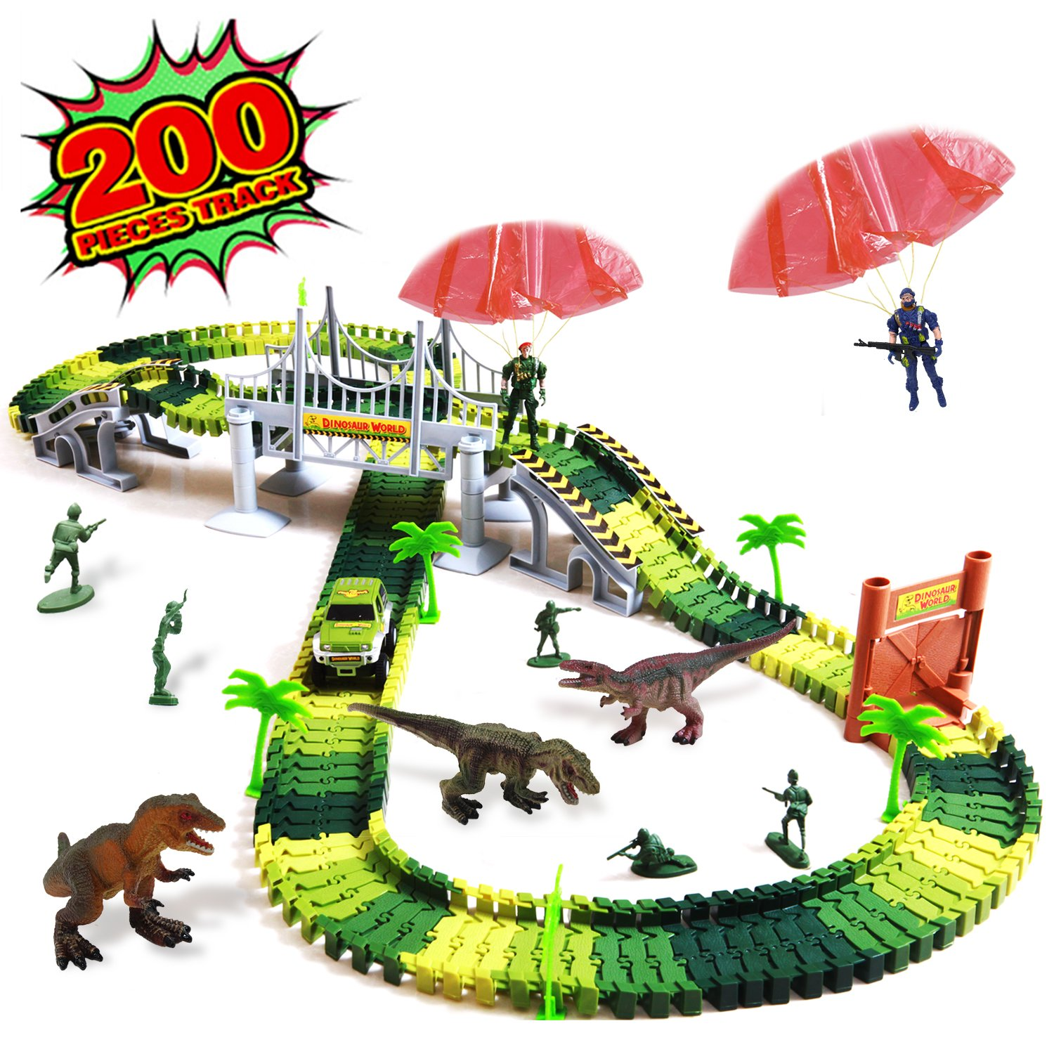 heytech Dinosaur Toys Dinosaurs World Car Vehicle Race Track Bridge Create A Road 200 Pieces Toy Car & Flexible Track Playset Multiple Elements