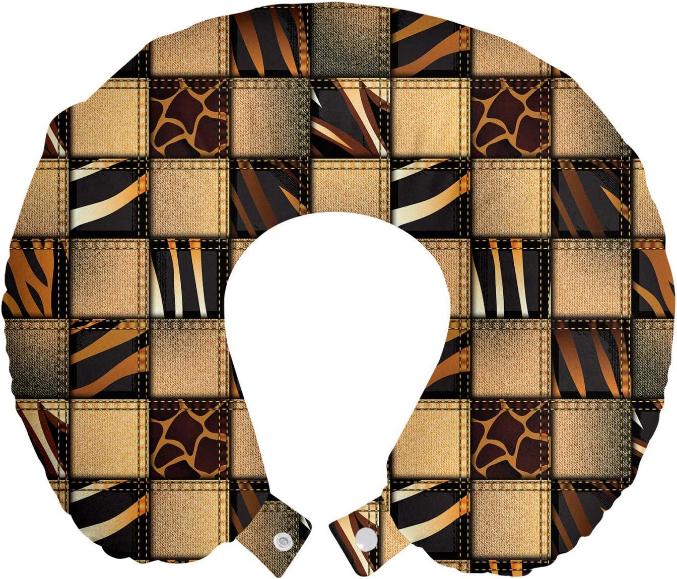 ABAKUHAUS Safari Cojín de Viaje para Soporte de Cuello, Jeans Denim Remiendo, de Espuma con Memoria y Funda Estampada, 30x30 cm, Brown y Negro