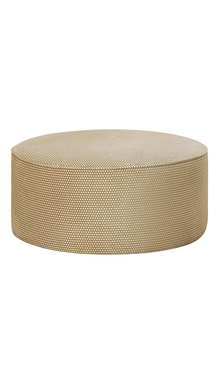 Wudern Large Round Upholstered Pouf Ottoman (Gold) - Hugo
