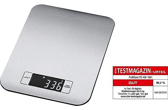 Proficook PC-KW 1061 Báscula de Cocina Digital, 5Kg Pasos 1g, función Tara, Acero Inoxidable, Plateado: Amazon.es