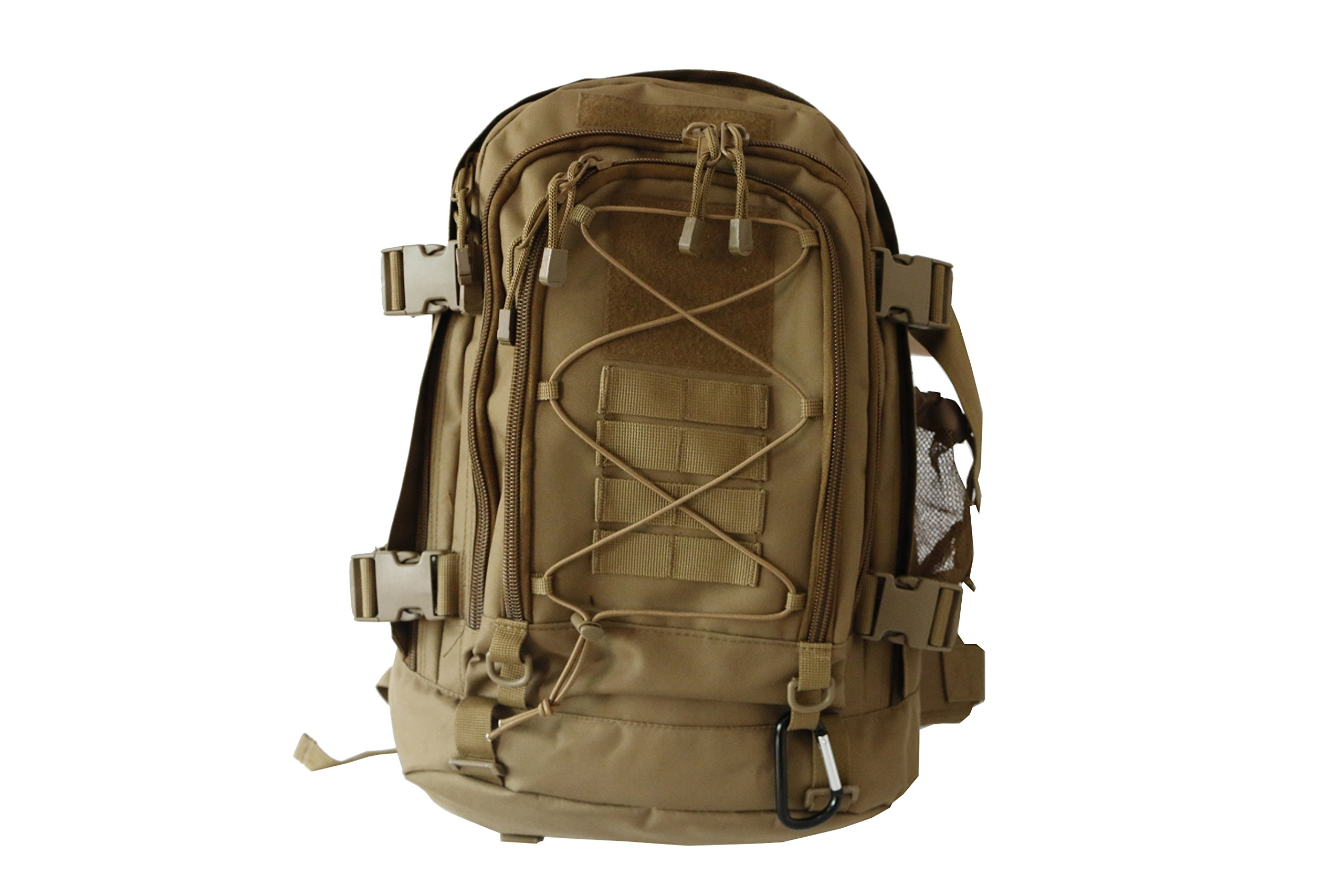ARMYCAMOUSA Expandable 40-48 L Tactical Backpack Military Outdoor Sport Camping Hiking Trekking Bag (Coyote)