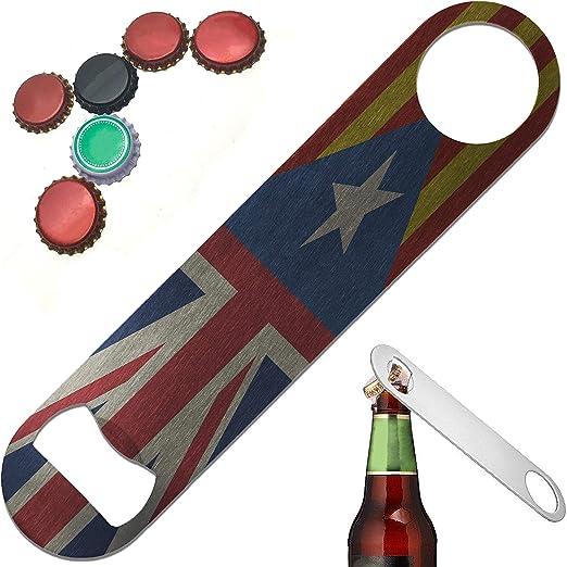Abridor de botellas de acero inoxidable resistente y duradero con diseño de la bandera de España Catalan del Reino Unido de 7 pulgadas: Amazon.es: Hogar
