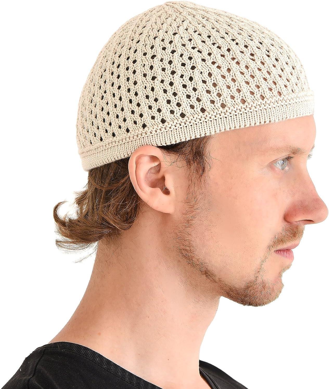Casualbox Kufi Cranio Cappellino Cotone Preghiera Cappello Uncinetto Maglione Morbido Pelle Cura