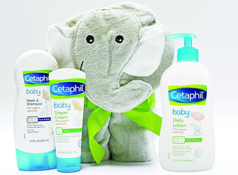 Cetaphil Baby Cetaphil Baby Sensitive Skin Bath Time Essentials Gift Set with Elephant Hoodie Towel Galderma Laboratories Inc 302993936893