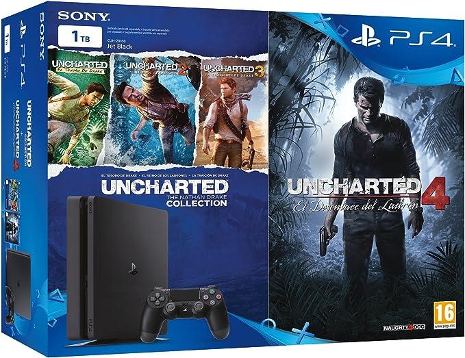 PlayStation 4 Slim (PS4) 1TB - Consola + Uncharted Collection + Uncharted 4: Amazon.es: Videojuegos