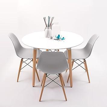 Homely - Conjunto de Comedor NORDIK-MAX Mesa Redonda de 100 cm lacada  Blanca y 4 sillas- Gris Claro