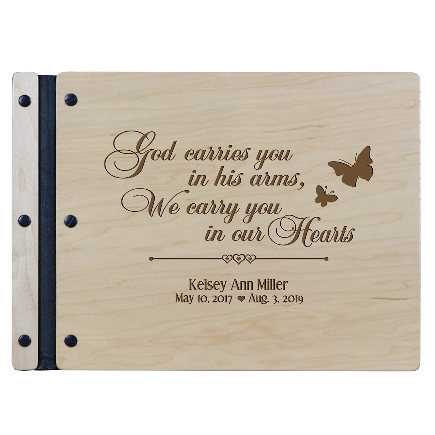 LifeSong Milestones Engraved Personalized Solid Cherry Wood Memorial Sympathy Ceremony Guest Book for Funeral Service Loss of Loved e Celebration