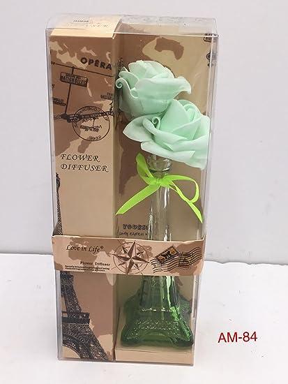Amazon Smart Sense Eiffel Tower Glass Green Flower Vase Reed
