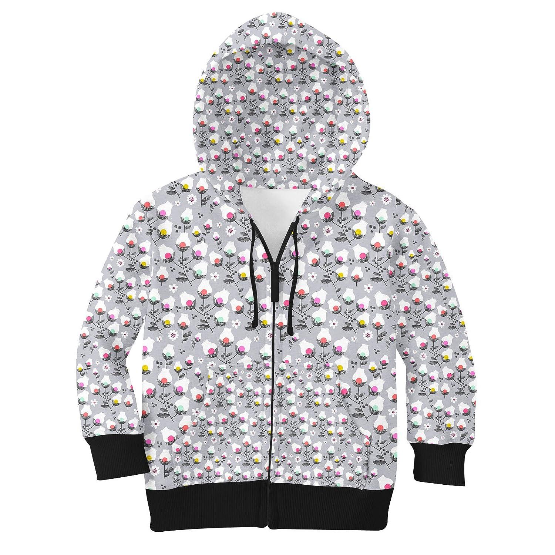 Subtle Flowers on Grey Kids Zip Up Hoodie Unisex