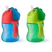 Philips Avent My Bendy Straw Cup, 7oz, 2pk, Blue/Green, SCF790/21