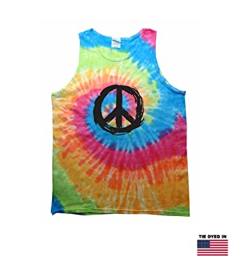 Amazon Vintage Cotton Tie Dyed Tank With Universal Peace Symbol