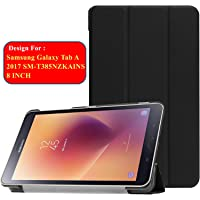 Taslar Leather Convenient Stand Function With Magnetic Lock Flip Cover Case For Samsung Galaxy Tab A 2017 SM-T385NZKAINS Tablet 8 Inch,(Black)