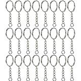 Willbond 50 Stück Schlüsselring Schlüsselanhänger Ring Split Ringe Runde Umrandete Schlüsselringe mit 4 Link Kette, 1 Zoll Durchmesser