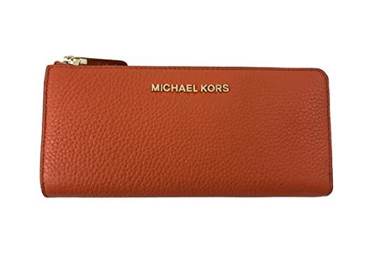 5b1cae68adff Image Unavailable. Image not available for. Color  Michael Kors Jet Set  Large Three Quarter Zip Around Pebble Leather Wallet in Tangerine