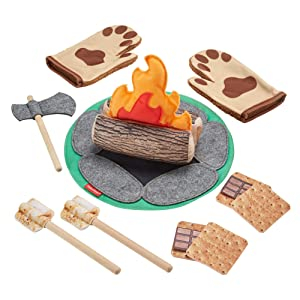 Fisher-Price S'More Fun Campfire - 18-Piece Pretend Camping Play Set with Real Wood for Preschoolers Ages 3 Years & Up