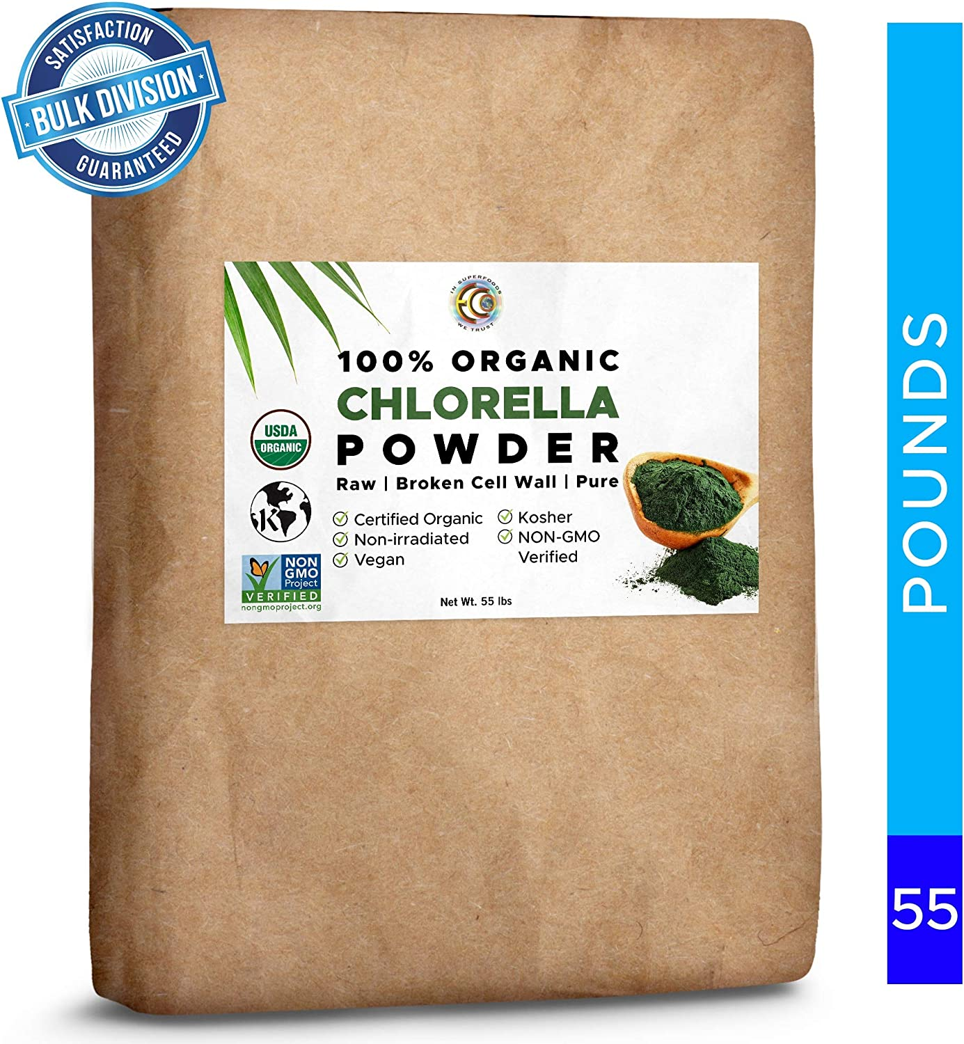 Earth Circle Organics – Certified Organic Chlorella Superfood Powder, Kosher, Cold Pressed, Broken Cell Wall, Vegan, High in Protein, Fiber Amino Acids 55 lbs