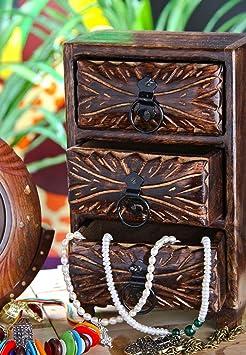 Artesia Mango Wood 3 Drawer Small Almirah Jewlery Storage Cabinet (6