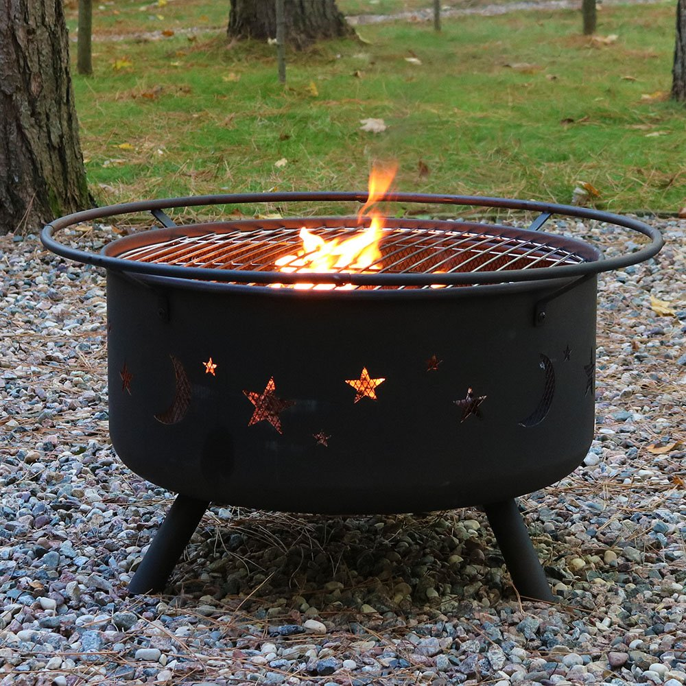 Sunnydaze 30 Inch Cosmic Fire Pit with Cooking Grill and Spark Screen