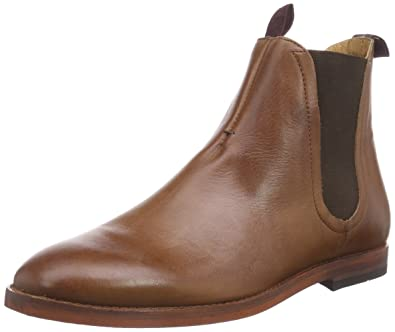3bc446fe01c9 H by Hudson Mens Tamper Evening Smart Elastic Leather Work Chelsea Boots -  Tan - 9