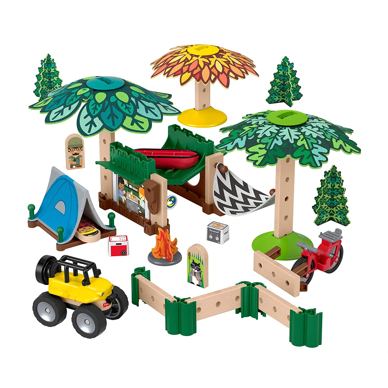 Fisher-Price Wonder Makers Design System Soft Slumber Campground - 60+ Piece Building and Wooden Track Play Set for Ages 3 Years & Up